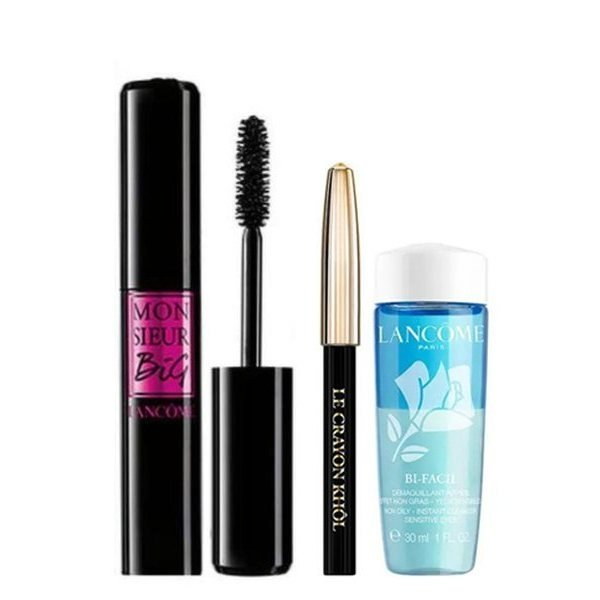 Lancome Set - Mascara Monsieur Big 01 Grand Volume 10 m + + Crayon Kohl 01 Noir 0.7 g  + Make-up remover Bi-Facil 30 ml