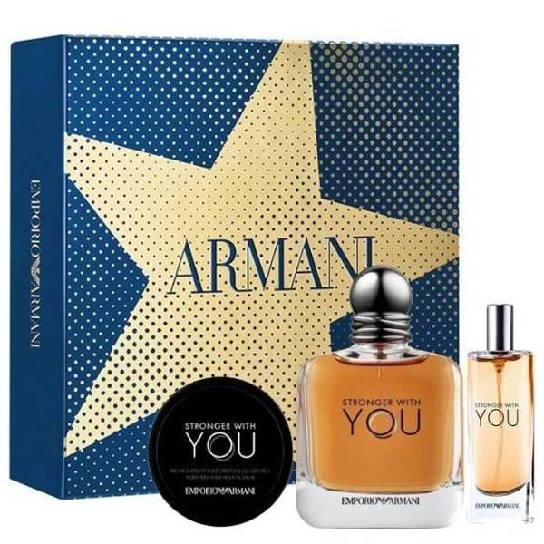 Emporio Armani Stronger With You Set - Eau de Toilette 100 ml + Eau de Toilette 15 ml + Perfumed Hair Shaping Balm 50 ml