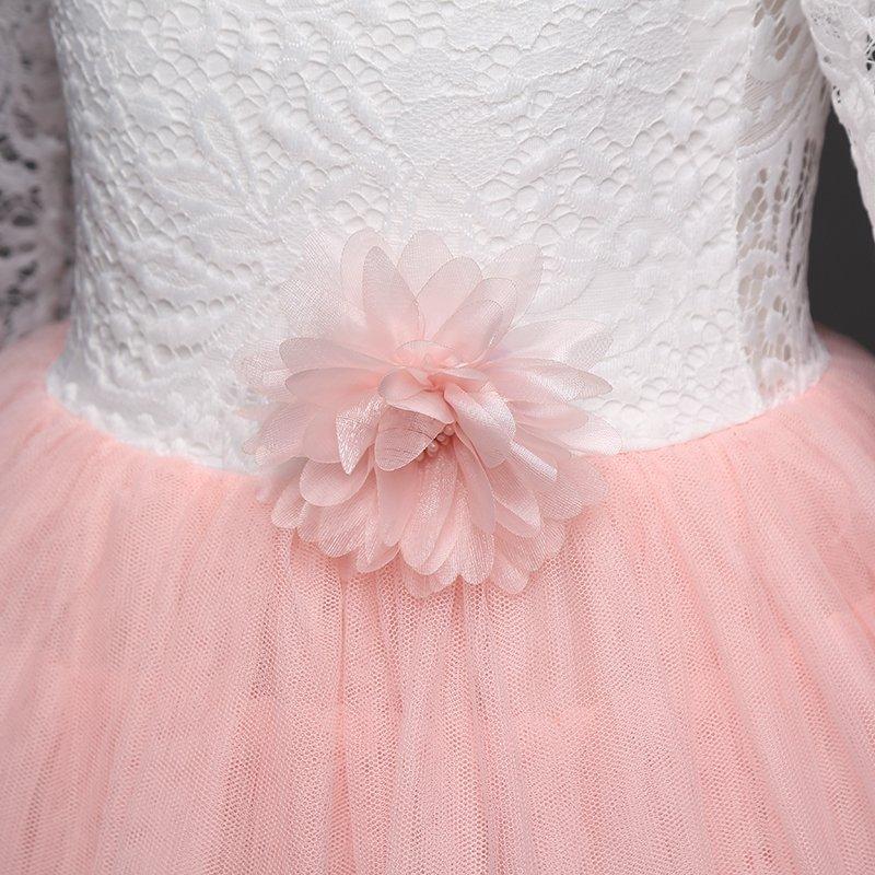 Sukienka Boho Wróżka z rękawkiem różowa