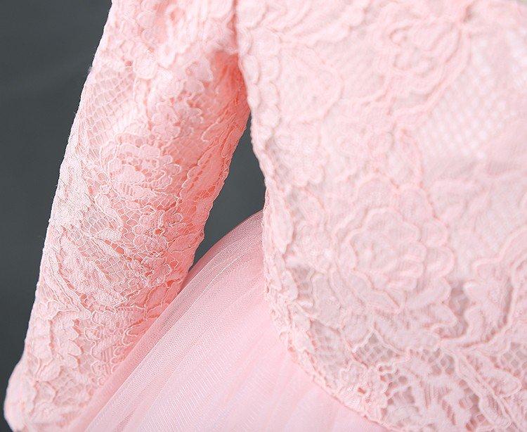 Wytworna sukienka z rękawkiem różowa
