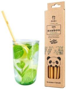 ZUZII Bambusowe, wielorazowe słomki do picia + czyścik