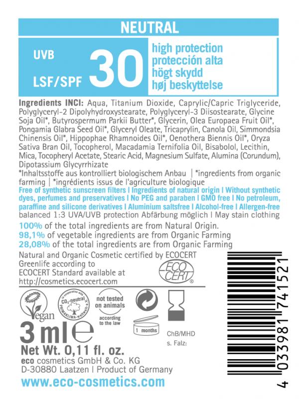 Eco Cosmetics Emulsja na słońce SPF 30 NEUTRAL - próbka 3 ml