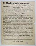 OBWIESZCZENIE powołania. Wszyscy obowiązani do służby w pospolitem ruszeniu obywatele austryaccy i węgierscy [...]