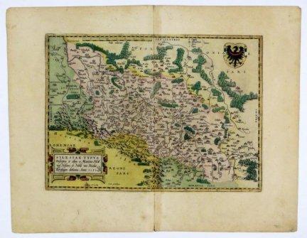 ŚLĄSK. Silesiae Typus Descriptus et editus a Martino Heilwig Neisense, et Nobili viro Nicolao Rhedinger dedicatus. Anno 1561. Miedzioryt kolorowany