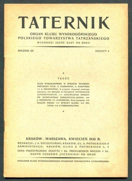 Taternik. Organ Klubu Wysokogórskiego Polskiego Towarzystwa Tatrzańskiego. R. 20: 1936, nr 4