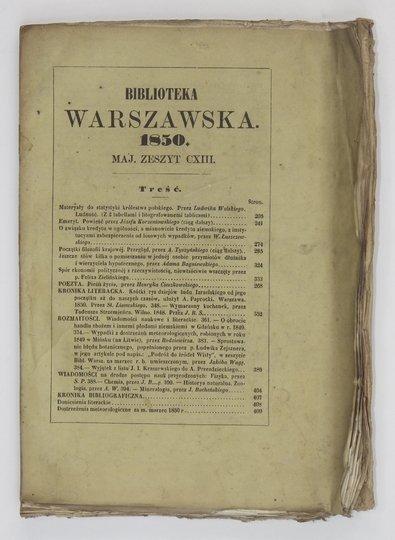 BIBLIOTEKA Warszawska.Pismo poświęcone naukom, sztukom i przemysłowi. R. 1850, t. 2, zesz. 113