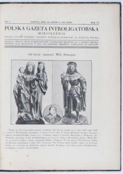 Polska Gazeta Introligatorska. Organ Centr. Związku Cechów Introligatorskich na Rzplitą Polską. R.6, nr 6-9: 20 VI-20 IX 1933.