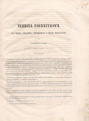 Kluger Władysław - Turbina Fourneyron'a jej teorya dokładna, przybliżona i uwagi praktyczne przez ... Przedstawiono na posiedzeniu Towarzystwa d. 7 Marca 1872 r.