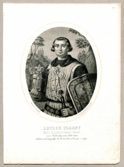Leszek Czarny - Król Polski X Krak i Sand- litografia. [Rys. Aleksander Lesser. Litografował H.Aschenbrenner]
