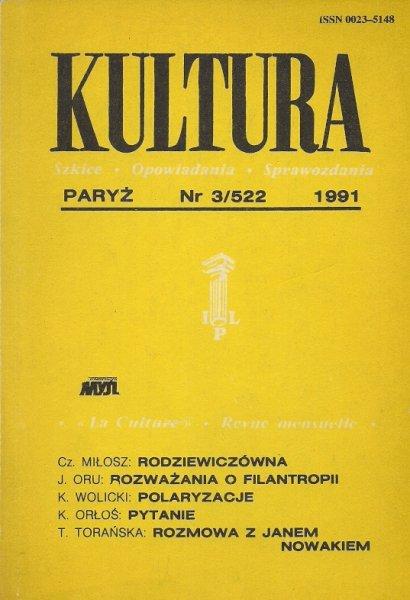 Kultura. Szkice, opowiadania, sprawozdania. Nr 3/522: III 1991.