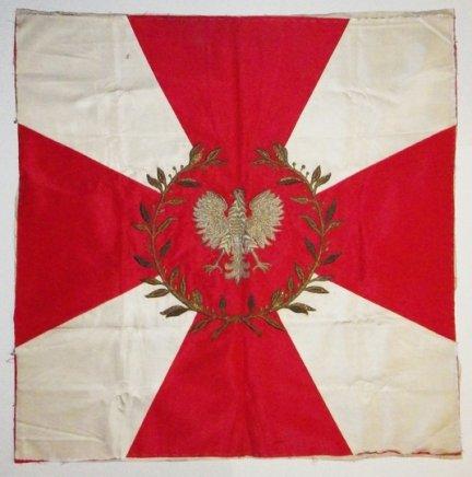 [SZTANDAR]. Nieukończony sztandar pułkowy (jeden jego płat) zaprojektowany wg wzoru wojskowego, zapewne dla pułku piechoty. [194-?].