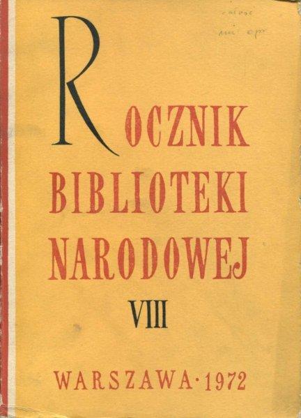 Rocznik Biblioteki Narodowej. Nr 8: 1972