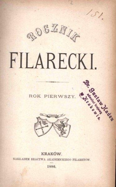 ROCZNIK Filarecki. R. 1: 1886.