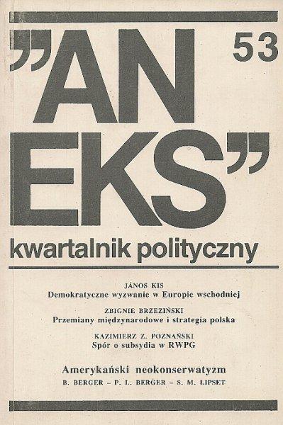 Aneks - kwartalnik polityczny. Nr 53.