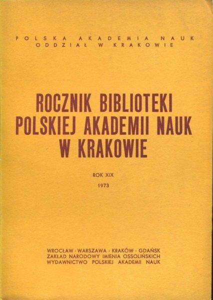 Rocznik Biblioteki PAN w Krakowie. R. 19: 1973