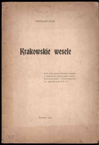 [Puzyna Józef] Wejdawutas - Krakowskie wesele.