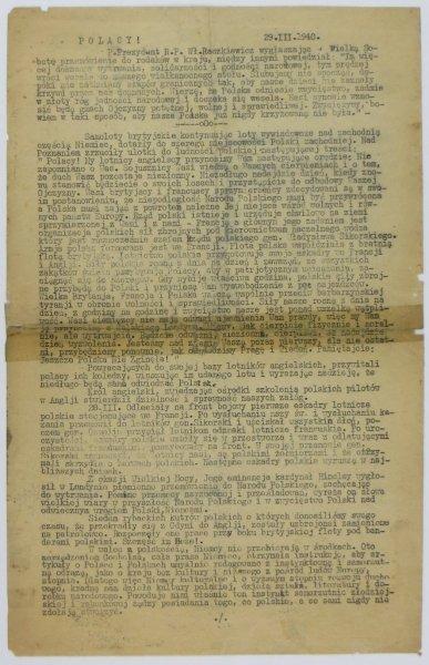 POLACY! [Kraków]. 29 III 1940.