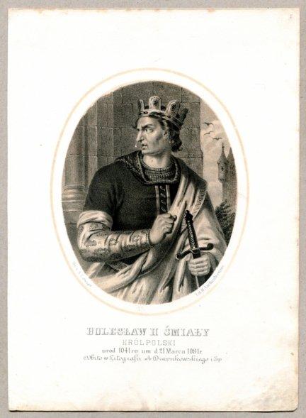 Bolesław II Śmiały - Król Polski - litografia [Rys. Aleksander Lesser. Lit. H.Aschenbrenner]