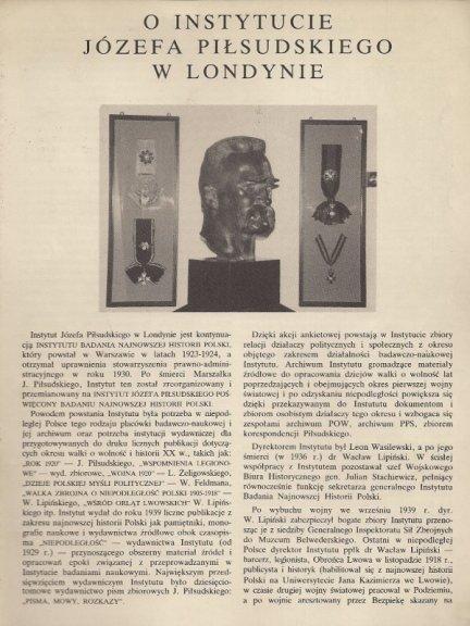 Mękarska-Kozłowska Barbara - O Instytucie Józefa Piłsudskiego w Londynie.