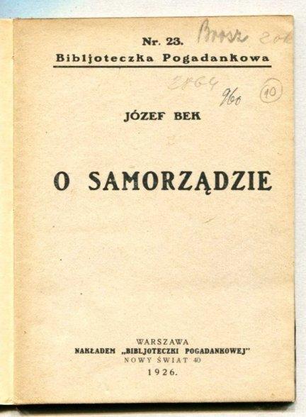Bek Józef - O samorządzie