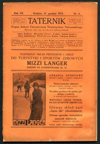 Taternik. Organ Sekcyi Turystycznej Towarzystwa Tatrzańskiego. R. 7: 1913, nr 6