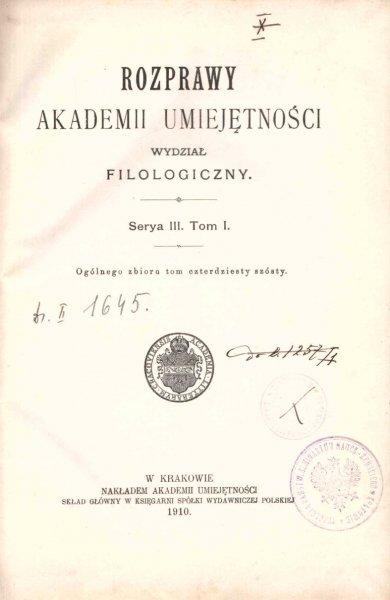 Rozprawy Akademii Umiejętności, Wydział Filologiczny, S.III, t.1