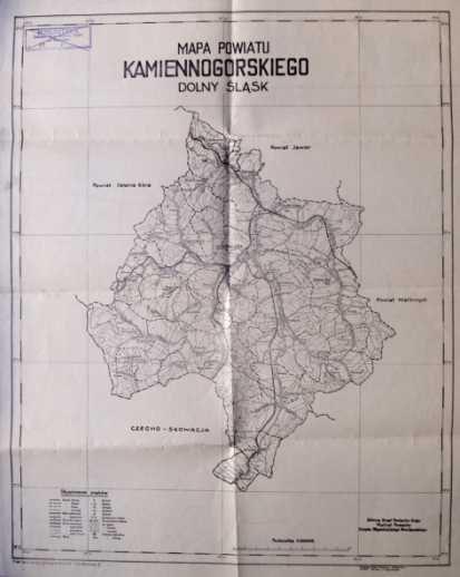 ŚLĄSK. Mapa powiatu kamiennogórskiego, Dolny Śląsk.