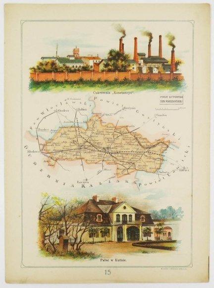 Bazewicz J. M. - Powiat kutnowski guberni warszawskiej - mapa 1907.