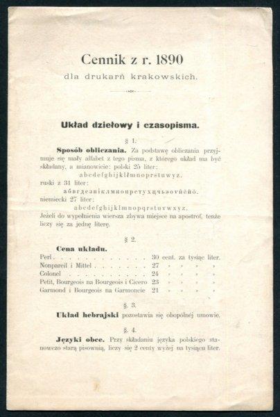 Cennik z r. 1890 dla drukarń krakowskich
