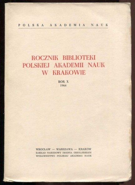 Rocznik Biblioteki PAN w Krakowie. R. 10: 1964