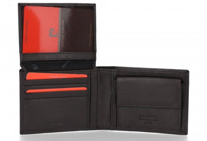 Klasyczny Skórzany Portfel Męski firmy PIERRE CARDIN Czekolada