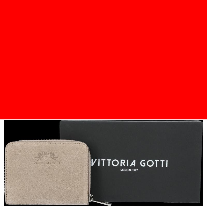 Portfel Skórzany VITTORIA GOTTI Made in Italy Beż