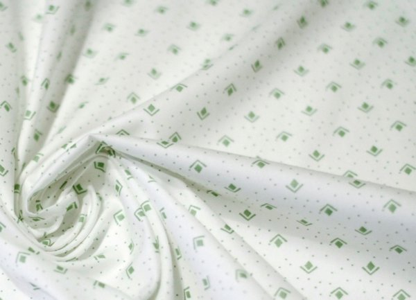 Green karo in white szer. 160 cm