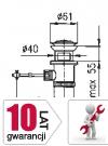 ARMATURA KRAKÓW - Korek spust z łącznikiem cięgna mosiądz 660-054-00