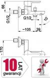 ARMATURA KRAKÓW - bateria wannowa ścienna GRANAT 5524-010-00