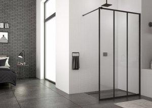 SanSwiss - Ścianka boczna wolnostojąca szkło 8mm Walk-in Easy Loft 72 STR4P Rozmiary 80 -140cm  CZARNY MAT