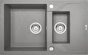 DEANTE Zlewozmywak ANDANTE 1,5-komorowy z krótkim ociekaczem -szary metalik ZQN S513