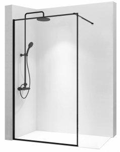 ZESTAW - Kabina ścianka prysznicowa BLER 120 cm + Zestaw prysznicowy czarny/black MIKE  z termostatem