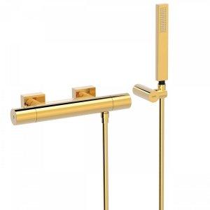 TRES- Bateria natryskowa termostatyczna ścienna złota/gold PROJECT COLORS 21116409OR