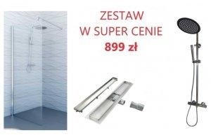 SEA HORSE - Zestaw ścianka WALK-IN 85cm + Zestaw natryskowy z baterią natryskową + Odpływ liniowy 2w1 50 cm