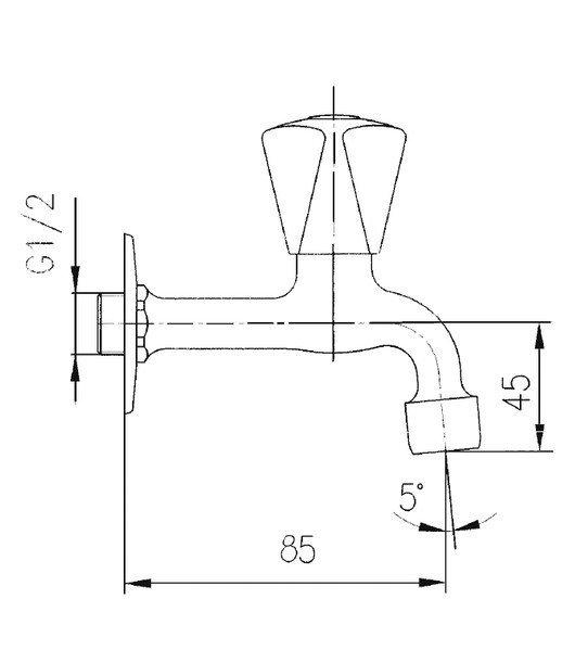 ARMATURA KRAKÓW - Zawór wodny, wypływowy umywalkowy ścienny z napowietrzaczem 200-110-00