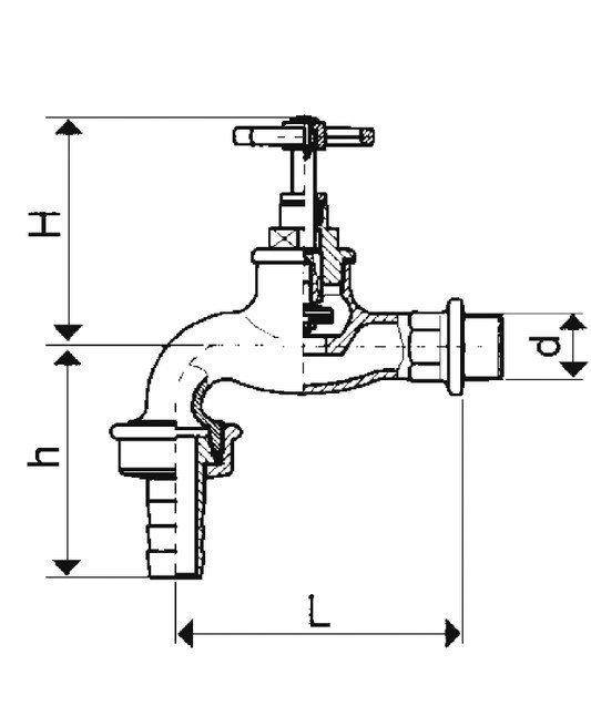 ARMATURA KRAKÓW - Zawór wodny, wypływowy 3/4 czerpalny z szybkozłączką 190-134-07
