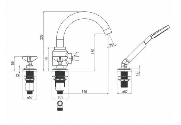 DEANTE - Bateria wannowa 4-otworowa TEMISTO GOLD/Złota z kompletem natryskowym BQT M14D