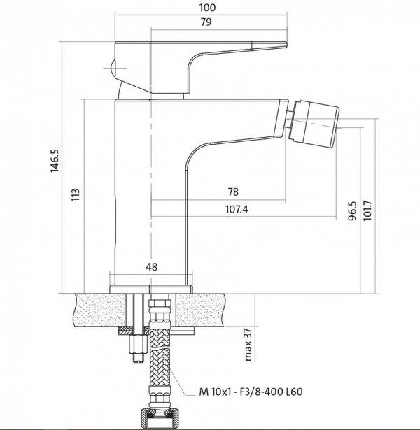 CERSANIT - Bateria bidetowa stojąca VIGO z korkiem automatycznym klik-klak DESIGN S951-015