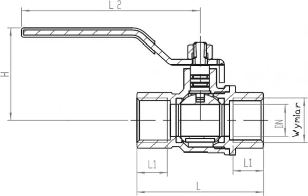 ARMATURA KRAKÓW - kurek kulowy do gazu, nakrętno-nakrętny z dźwignią 730-110-15