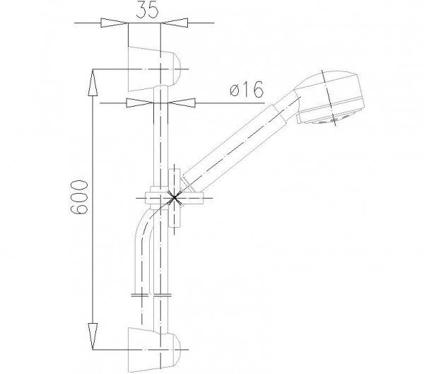 ARMATURA KRAKÓW - Zestaw natryskowy przesuwny SYMETRIC 841-140-00