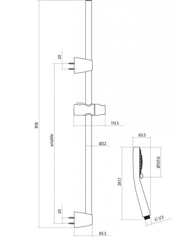 CERSANIT - Zestaw natryskowy NENO z drążkiem S951-019