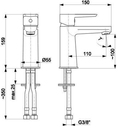 ARMATURA KRAKÓW KFA Bateria umywalkowa NARVA BLACK 5222-815-81