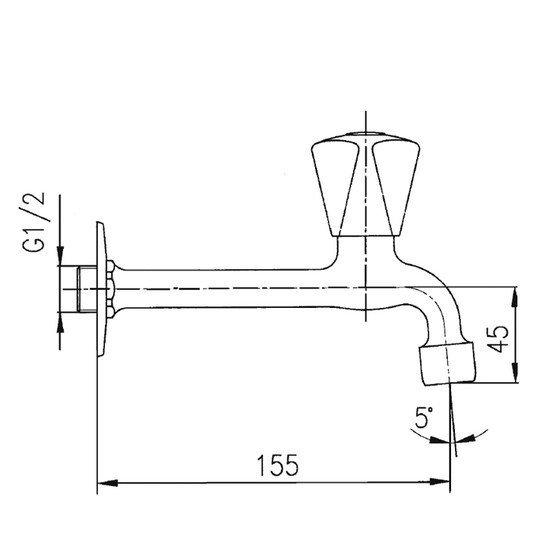 ARMATURA KRAKÓW - Zawór wodny, wypływowy umywalkowy ścienny wydłużony z napowietrzaczem 202-111-00