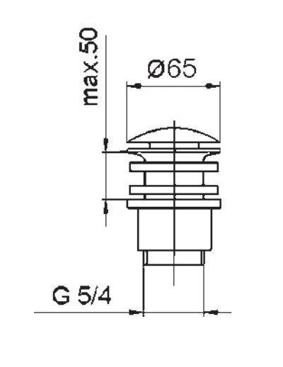 ARMATURA KRAKÓW - Korek spust klik-klak z korkiem ceramicznym 660-554-40